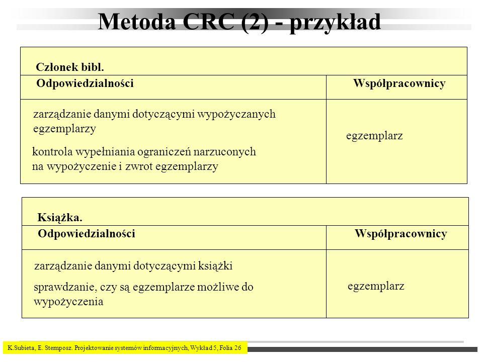 K.Subieta, E. Stemposz. Projektowanie systemów informacyjnych, Wykład 5, Folia 26 Metoda CRC (2) - przykład Członek bibl. OdpowiedzialnościWspółpracow