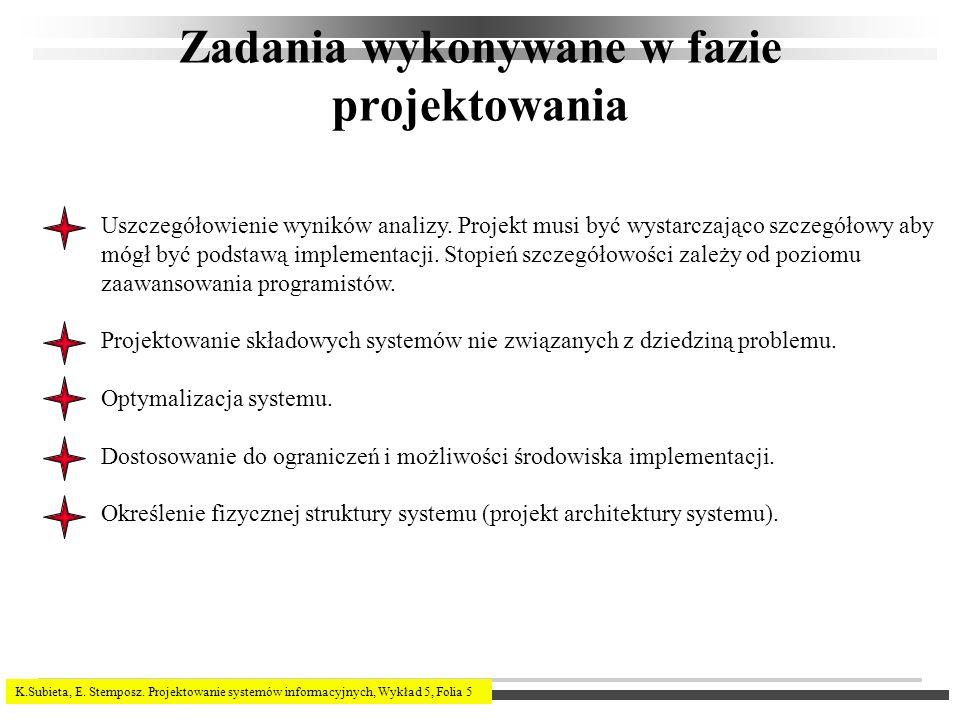 K.Subieta, E. Stemposz. Projektowanie systemów informacyjnych, Wykład 5, Folia 5 Zadania wykonywane w fazie projektowania Uszczegółowienie wyników ana