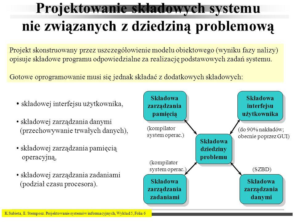 K.Subieta, E. Stemposz. Projektowanie systemów informacyjnych, Wykład 5, Folia 6 Projektowanie składowych systemu nie związanych z dziedziną problemow