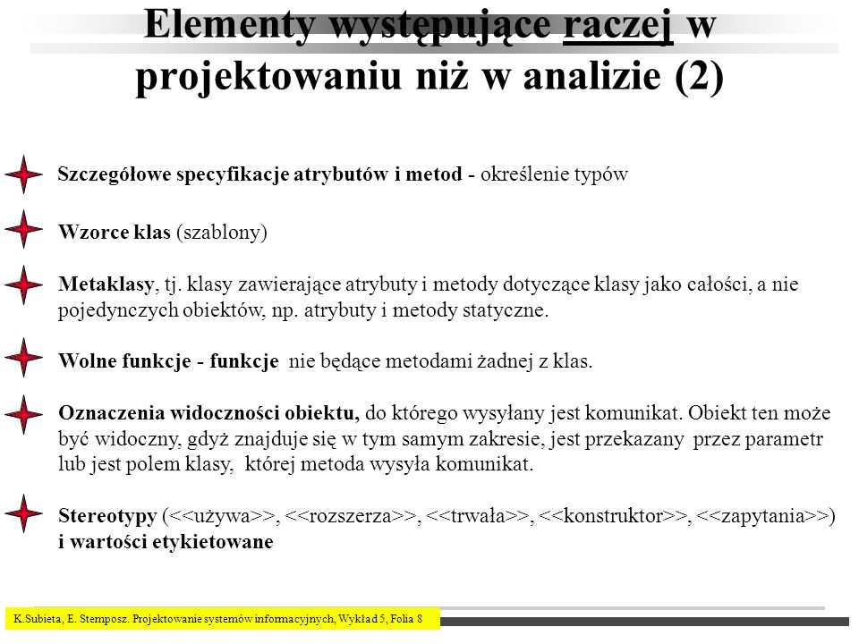 K.Subieta, E. Stemposz. Projektowanie systemów informacyjnych, Wykład 5, Folia 8 Elementy występujące raczej w projektowaniu niż w analizie (2) Wzorce
