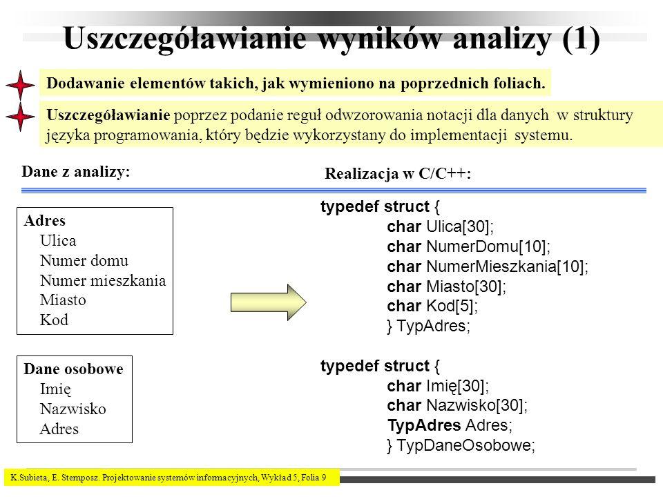 K.Subieta, E. Stemposz. Projektowanie systemów informacyjnych, Wykład 5, Folia 9 Uszczegóławianie wyników analizy (1) Uszczegóławianie poprzez podanie