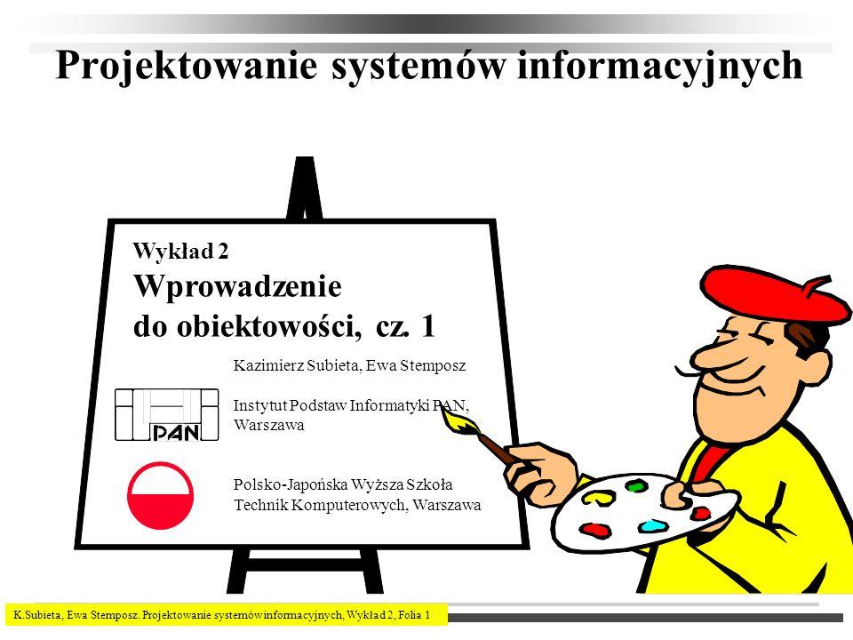 K.Subieta, Ewa Stemposz. Projektowanie systemów informacyjnych, Wykład 2, Folia 1 Projektowanie systemów informacyjnych Kazimierz Subieta, Ewa Stempos