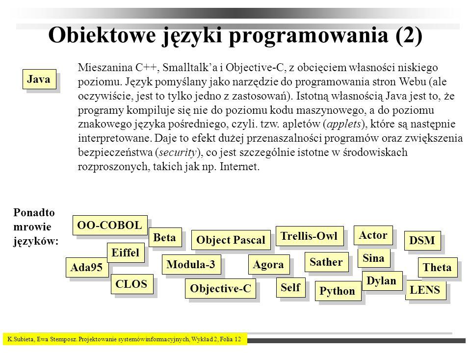 K.Subieta, Ewa Stemposz. Projektowanie systemów informacyjnych, Wykład 2, Folia 12 Obiektowe języki programowania (2) Java Mieszanina C++, Smalltalka