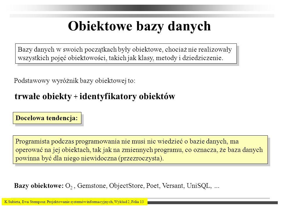 K.Subieta, Ewa Stemposz. Projektowanie systemów informacyjnych, Wykład 2, Folia 13 Obiektowe bazy danych Bazy danych w swoich początkach były obiektow