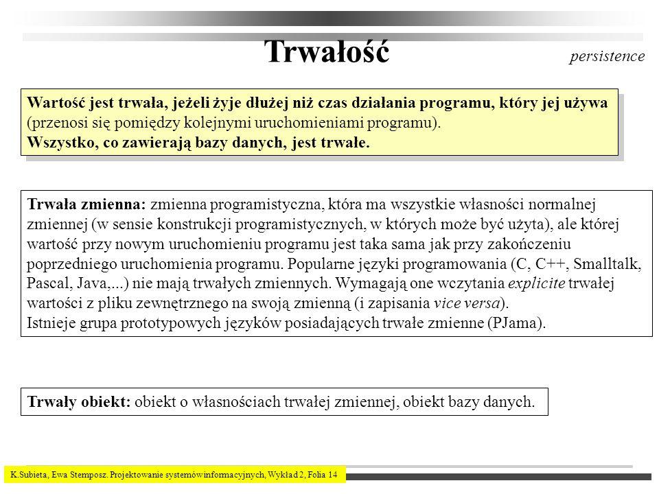 K.Subieta, Ewa Stemposz. Projektowanie systemów informacyjnych, Wykład 2, Folia 14 Trwałość Wartość jest trwała, jeżeli żyje dłużej niż czas działania