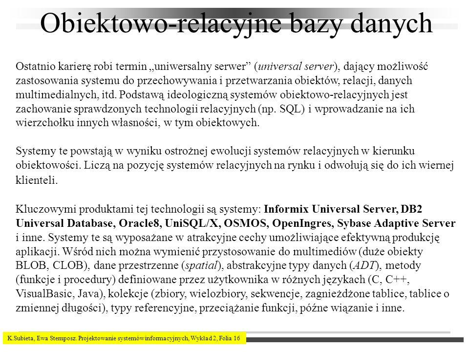 K.Subieta, Ewa Stemposz. Projektowanie systemów informacyjnych, Wykład 2, Folia 16 Obiektowo-relacyjne bazy danych Ostatnio karierę robi termin uniwer