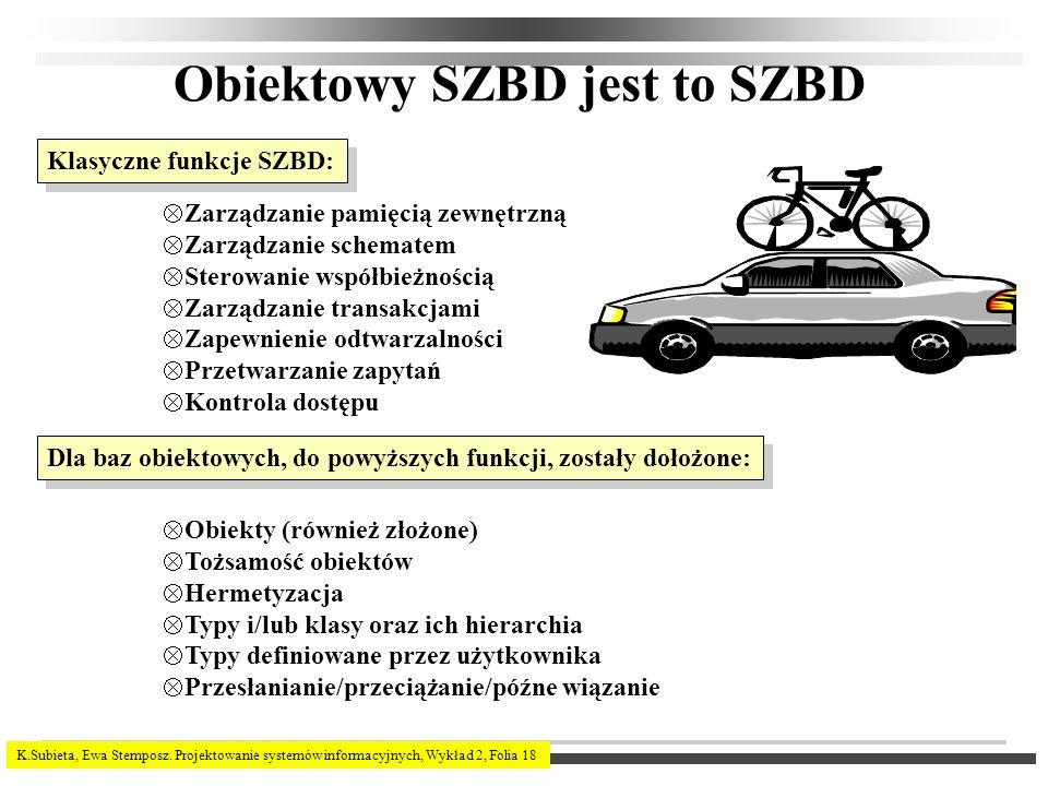 K.Subieta, Ewa Stemposz. Projektowanie systemów informacyjnych, Wykład 2, Folia 18 Obiektowy SZBD jest to SZBD Klasyczne funkcje SZBD: Zarządzanie pam