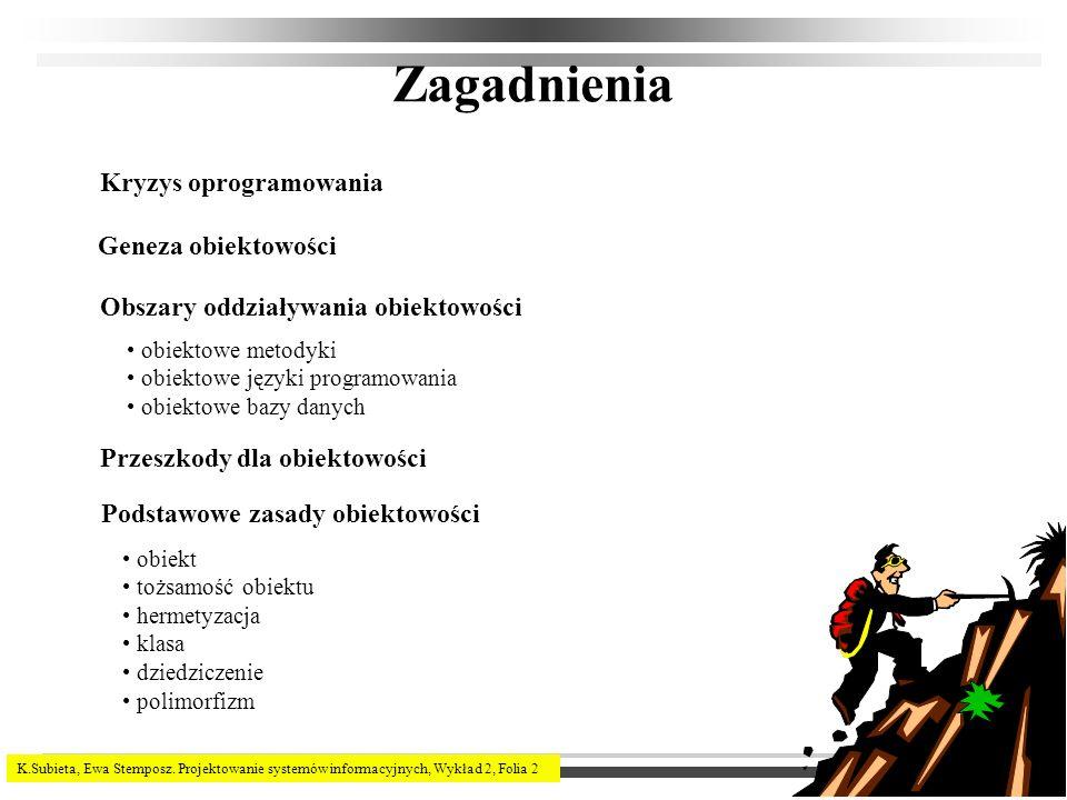 K.Subieta, Ewa Stemposz. Projektowanie systemów informacyjnych, Wykład 2, Folia 2 Zagadnienia Geneza obiektowości Podstawowe zasady obiektowości obiek