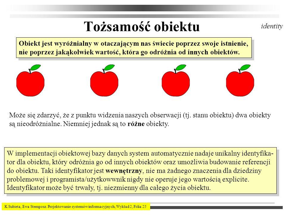 K.Subieta, Ewa Stemposz. Projektowanie systemów informacyjnych, Wykład 2, Folia 25 Tożsamość obiektu Obiekt jest wyróżnialny w otaczającym nas świecie
