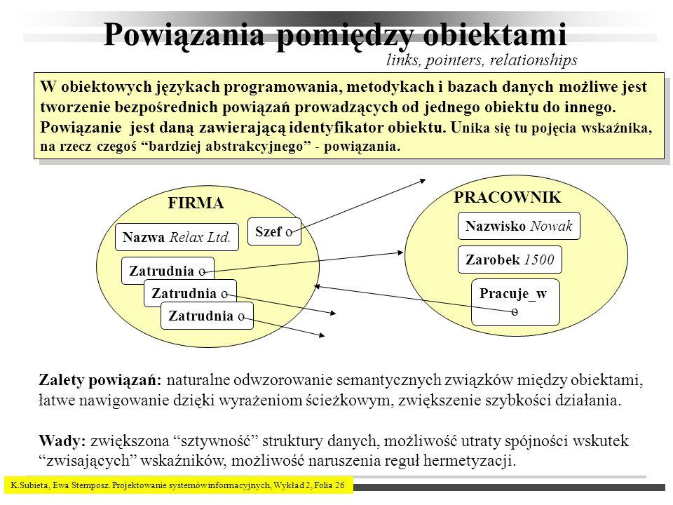K.Subieta, Ewa Stemposz. Projektowanie systemów informacyjnych, Wykład 2, Folia 26 Powiązania pomiędzy obiektami W obiektowych językach programowania,