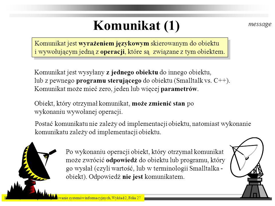 K.Subieta, Ewa Stemposz. Projektowanie systemów informacyjnych, Wykład 2, Folia 27 Komunikat (1) Komunikat jest wyrażeniem językowym skierowanym do ob