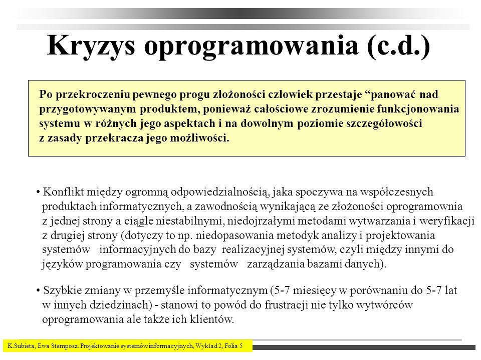 K.Subieta, Ewa Stemposz. Projektowanie systemów informacyjnych, Wykład 2, Folia 5 Kryzys oprogramowania (c.d.) Po przekroczeniu pewnego progu złożonoś