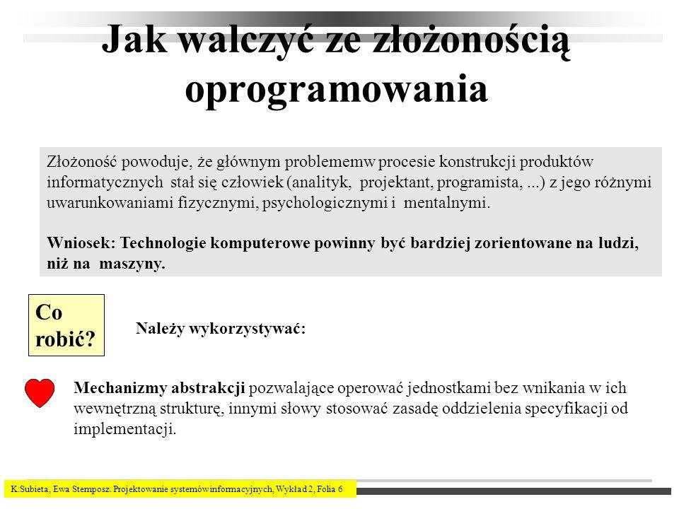 K.Subieta, Ewa Stemposz. Projektowanie systemów informacyjnych, Wykład 2, Folia 6 Jak walczyć ze złożonością oprogramowania Złożoność powoduje, że głó