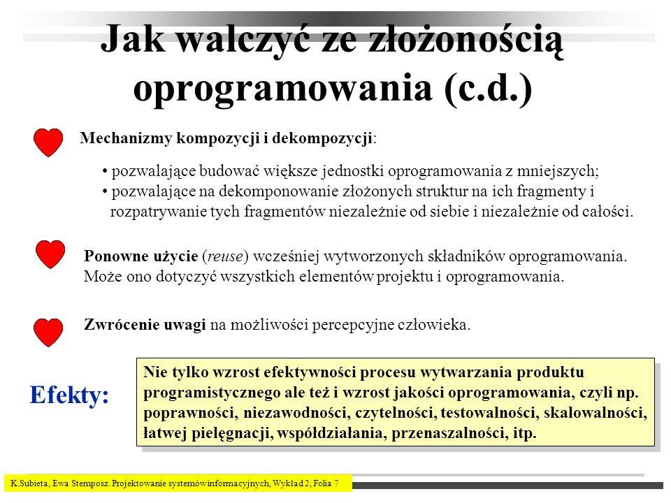 K.Subieta, Ewa Stemposz. Projektowanie systemów informacyjnych, Wykład 2, Folia 7 Jak walczyć ze złożonością oprogramowania (c.d.) pozwalające budować