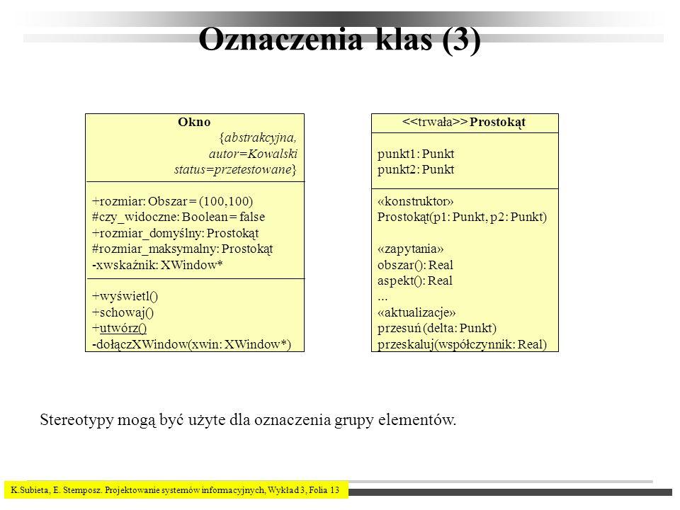 K.Subieta, E. Stemposz. Projektowanie systemów informacyjnych, Wykład 3, Folia 13 Oznaczenia klas (3) Okno {abstrakcyjna, autor=Kowalski status=przete