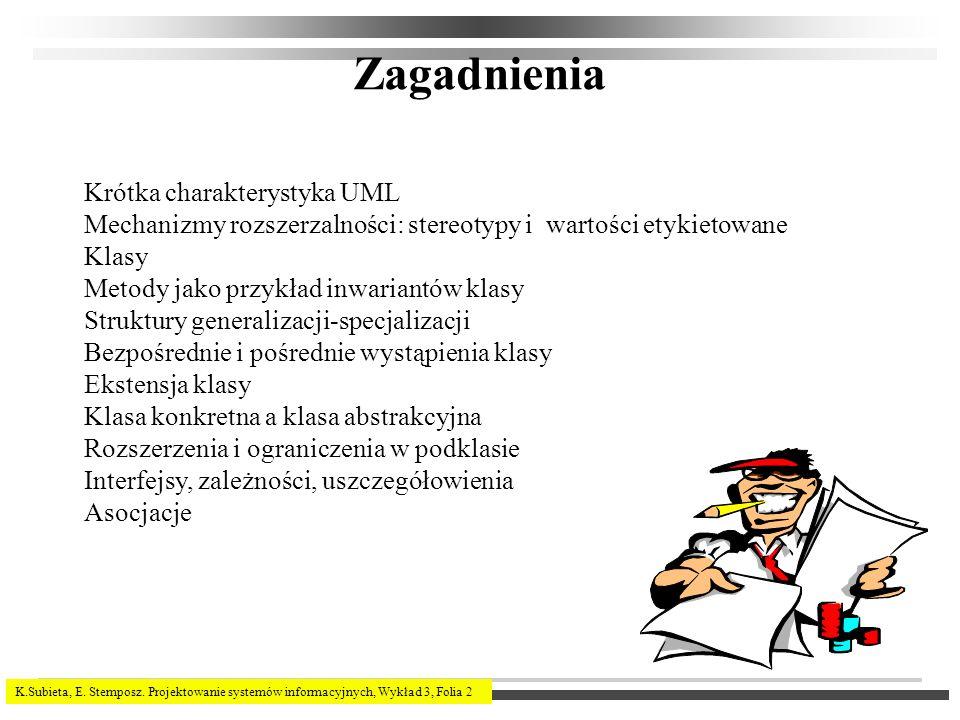K.Subieta, E. Stemposz. Projektowanie systemów informacyjnych, Wykład 3, Folia 2 Zagadnienia Krótka charakterystyka UML Mechanizmy rozszerzalności: st