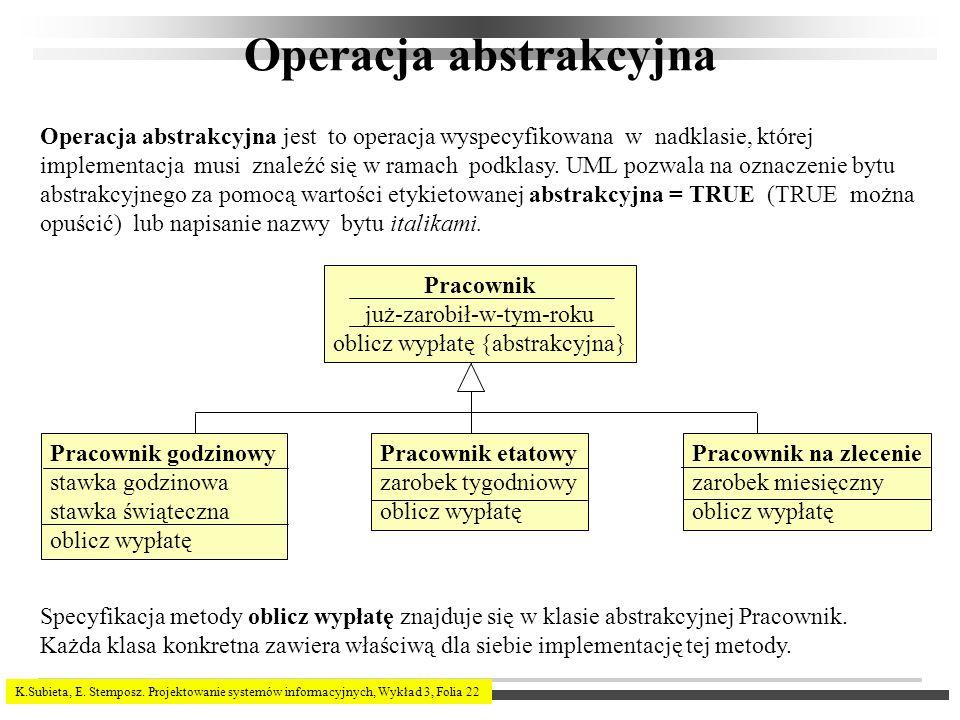 K.Subieta, E. Stemposz. Projektowanie systemów informacyjnych, Wykład 3, Folia 22 Operacja abstrakcyjna Operacja abstrakcyjna jest to operacja wyspecy