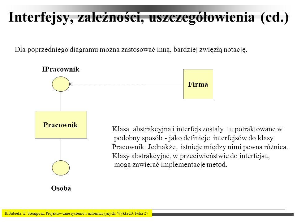 K.Subieta, E. Stemposz. Projektowanie systemów informacyjnych, Wykład 3, Folia 27 Interfejsy, zależności, uszczegółowienia (cd.) Dla poprzedniego diag