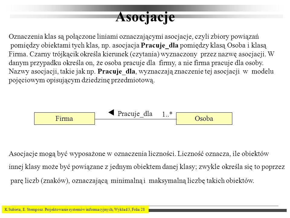 K.Subieta, E. Stemposz. Projektowanie systemów informacyjnych, Wykład 3, Folia 28 Asocjacje Oznaczenia klas są połączone liniami oznaczającymi asocjac