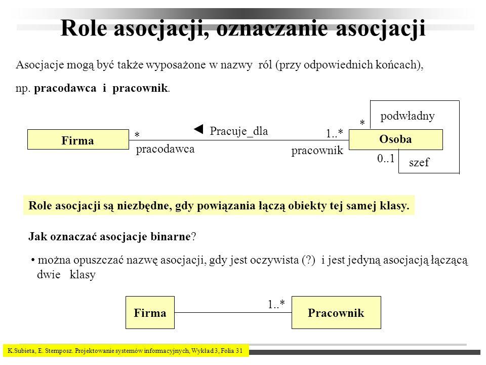K.Subieta, E. Stemposz. Projektowanie systemów informacyjnych, Wykład 3, Folia 31 Role asocjacji, oznaczanie asocjacji Asocjacje mogą być także wyposa