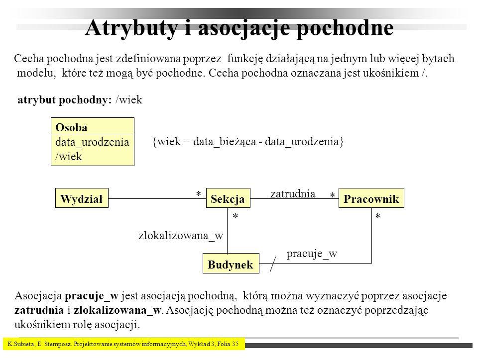 K.Subieta, E. Stemposz. Projektowanie systemów informacyjnych, Wykład 3, Folia 35 Atrybuty i asocjacje pochodne Cecha pochodna jest zdefiniowana poprz
