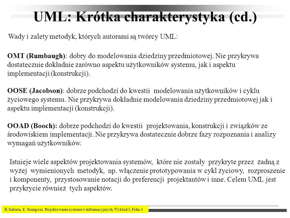 K.Subieta, E. Stemposz. Projektowanie systemów informacyjnych, Wykład 3, Folia 4 UML: Krótka charakterystyka (cd.) OMT (Rumbaugh): dobry do modelowani