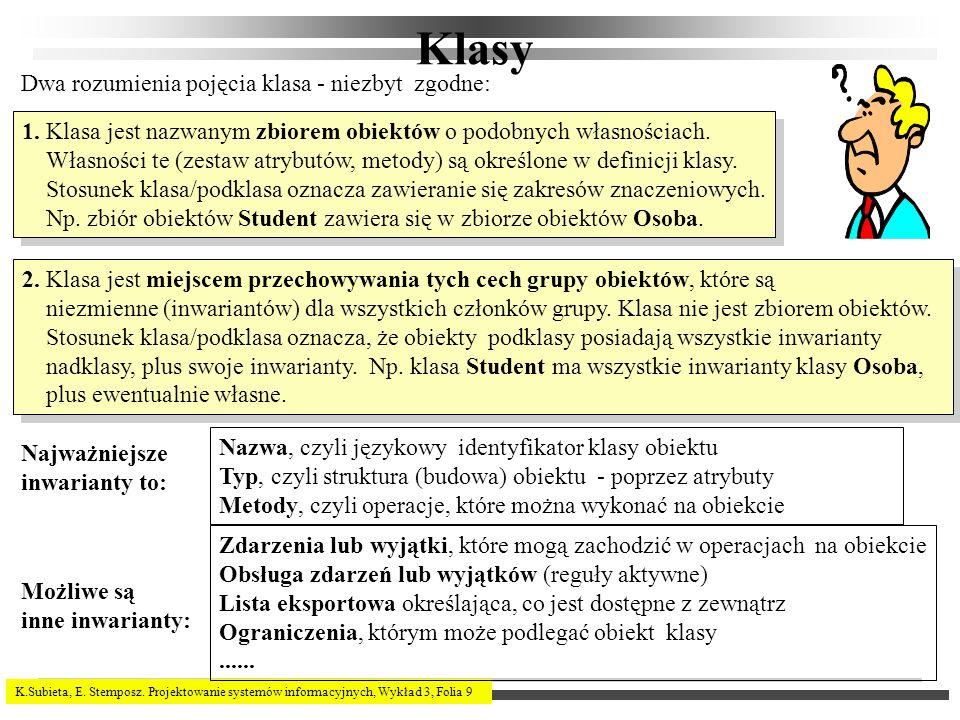 K.Subieta, E. Stemposz. Projektowanie systemów informacyjnych, Wykład 3, Folia 9 Klasy 2. Klasa jest miejscem przechowywania tych cech grupy obiektów,