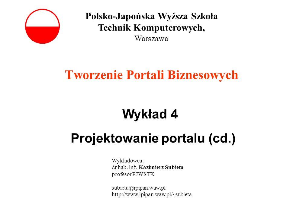 Tworzenie Portali Biznesowych Wykład 4 Projektowanie portalu (cd.) Polsko-Japońska Wyższa Szkoła Technik Komputerowych, Warszawa Wykładowca: dr hab. i