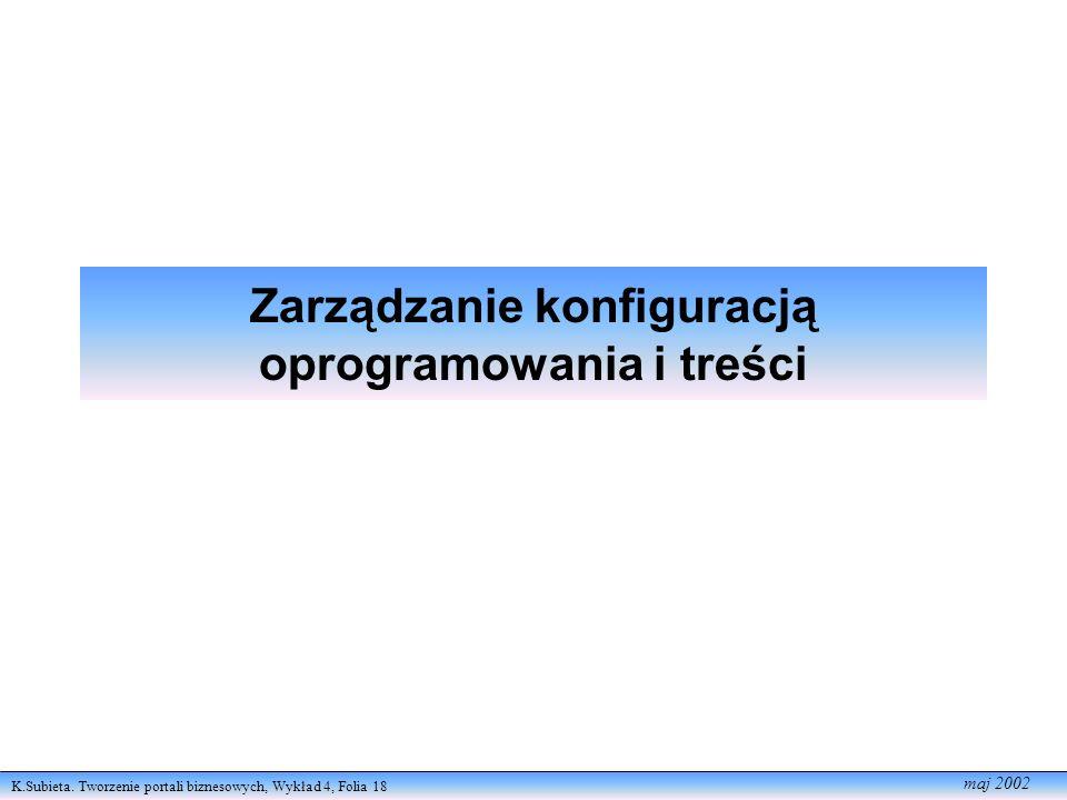 K.Subieta. Tworzenie portali biznesowych, Wykład 4, Folia 18 maj 2002 Zarządzanie konfiguracją oprogramowania i treści