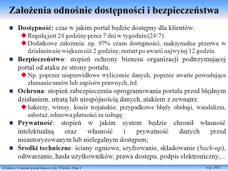 K.Subieta. Tworzenie portali biznesowych, Wykład 4, Folia 8 maj 2002 Założenia odnośnie dostępności i bezpieczeństwa Dostępność: czas w jakim portal b