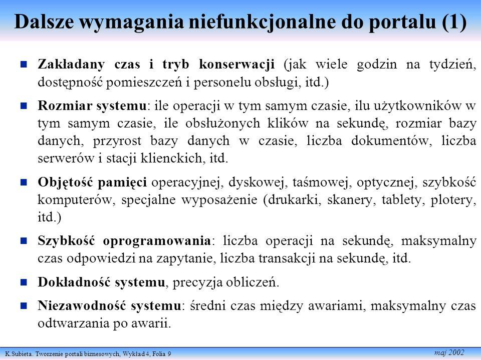 K.Subieta. Tworzenie portali biznesowych, Wykład 4, Folia 9 maj 2002 Dalsze wymagania niefunkcjonalne do portalu (1) Zakładany czas i tryb konserwacji
