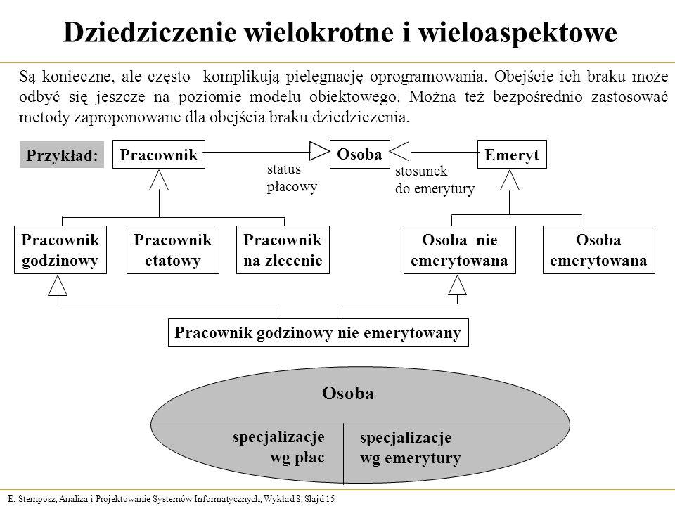 E. Stemposz, Analiza i Projektowanie Systemów Informatycznych, Wykład 8, Slajd 15 Pracownik godzinowy nie emerytowany Dziedziczenie wielokrotne i wiel
