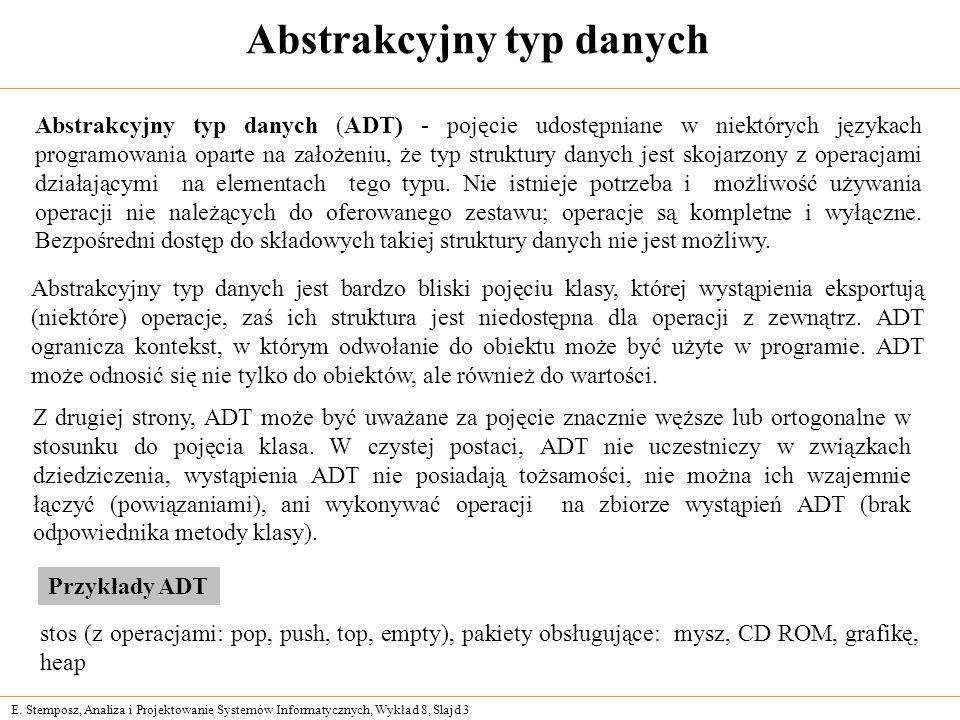E. Stemposz, Analiza i Projektowanie Systemów Informatycznych, Wykład 8, Slajd 3 Abstrakcyjny typ danych Abstrakcyjny typ danych jest bardzo bliski po