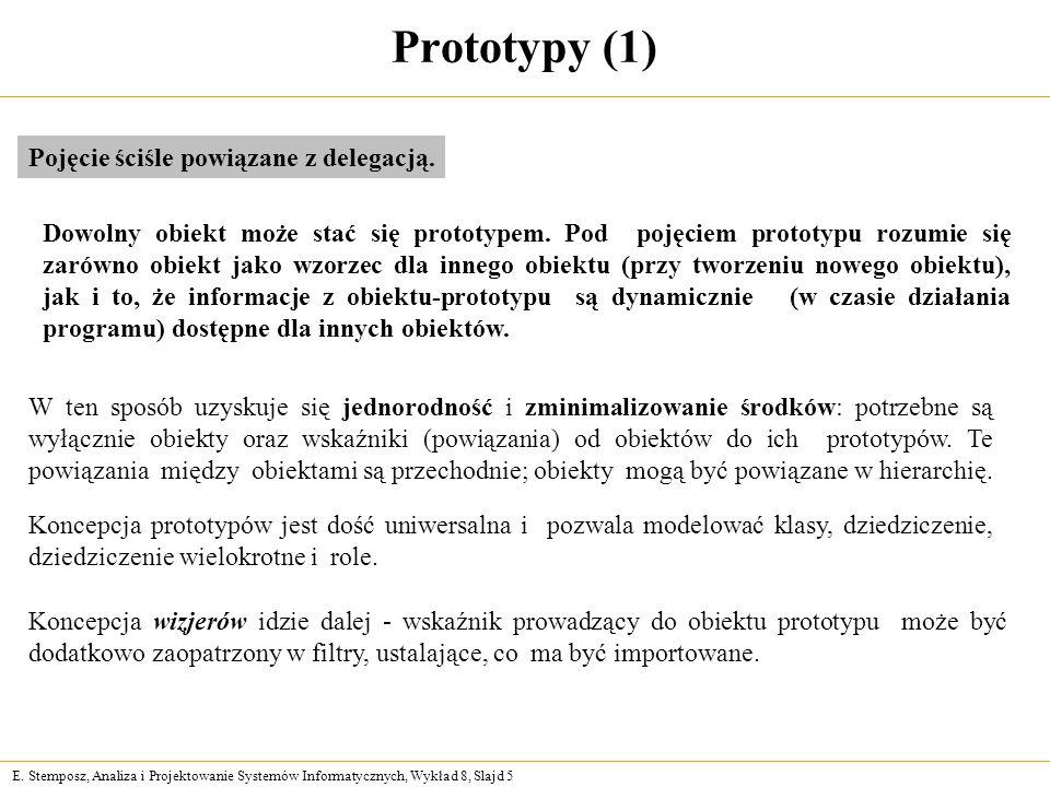 E. Stemposz, Analiza i Projektowanie Systemów Informatycznych, Wykład 8, Slajd 5 Prototypy (1) Dowolny obiekt może stać się prototypem. Pod pojęciem p