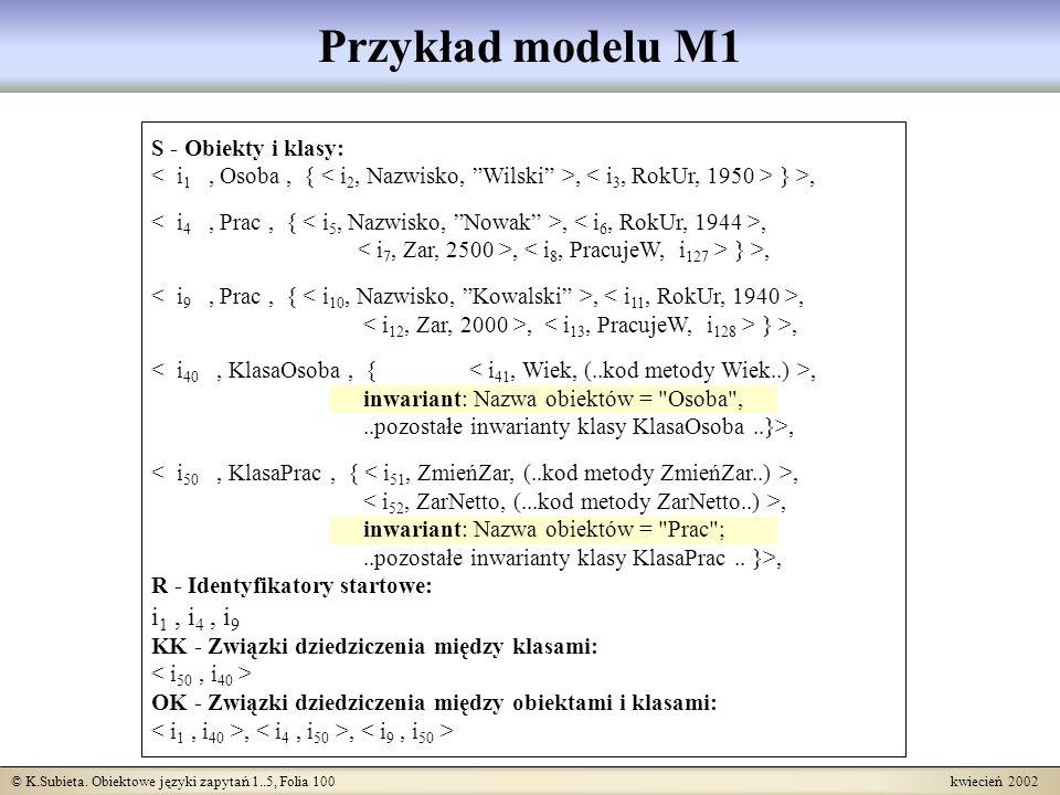 © K.Subieta. Obiektowe języki zapytań 1..5, Folia 100 kwiecień 2002 Przykład modelu M1 S - Obiekty i klasy:, } >,,,, } >,,,, } >,, inwariant: Nazwa ob