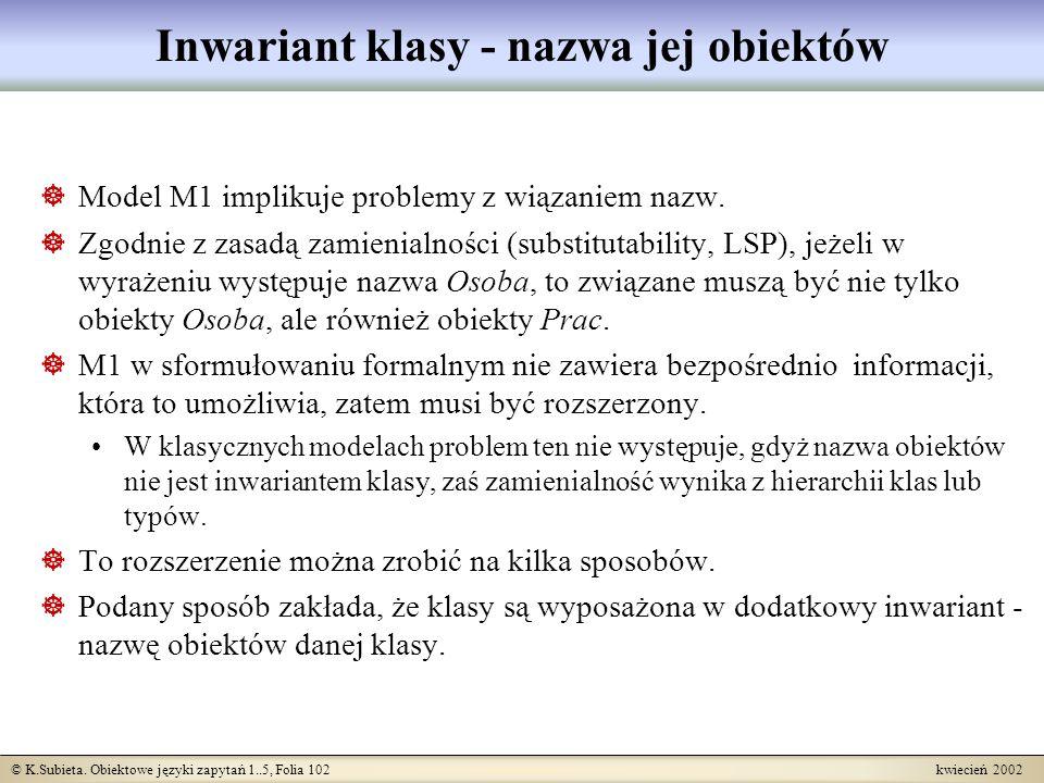 © K.Subieta. Obiektowe języki zapytań 1..5, Folia 102 kwiecień 2002 Inwariant klasy - nazwa jej obiektów Model M1 implikuje problemy z wiązaniem nazw.