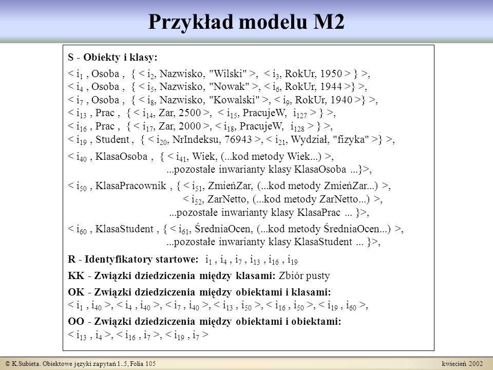 © K.Subieta. Obiektowe języki zapytań 1..5, Folia 105 kwiecień 2002 Przykład modelu M2 S - Obiekty i klasy:, } >,,...pozostałe inwarianty klasy KlasaO