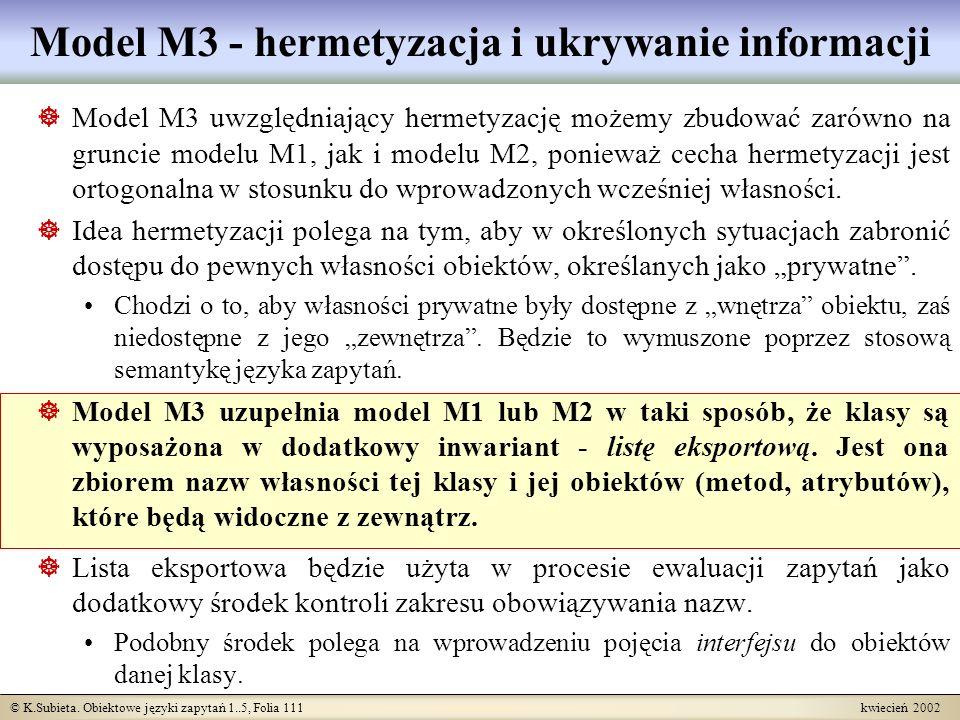 © K.Subieta. Obiektowe języki zapytań 1..5, Folia 111 kwiecień 2002 Model M3 - hermetyzacja i ukrywanie informacji Model M3 uwzględniający hermetyzacj
