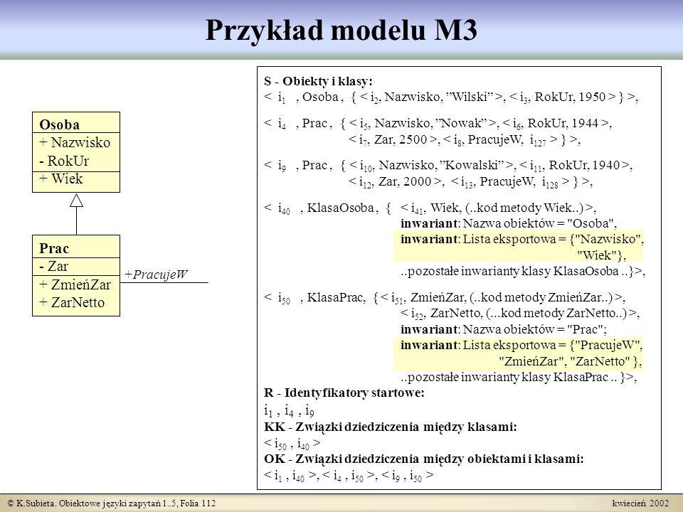 © K.Subieta. Obiektowe języki zapytań 1..5, Folia 112 kwiecień 2002 Przykład modelu M3 S - Obiekty i klasy:, } >,,,, } >,,,, } >,, inwariant: Nazwa ob