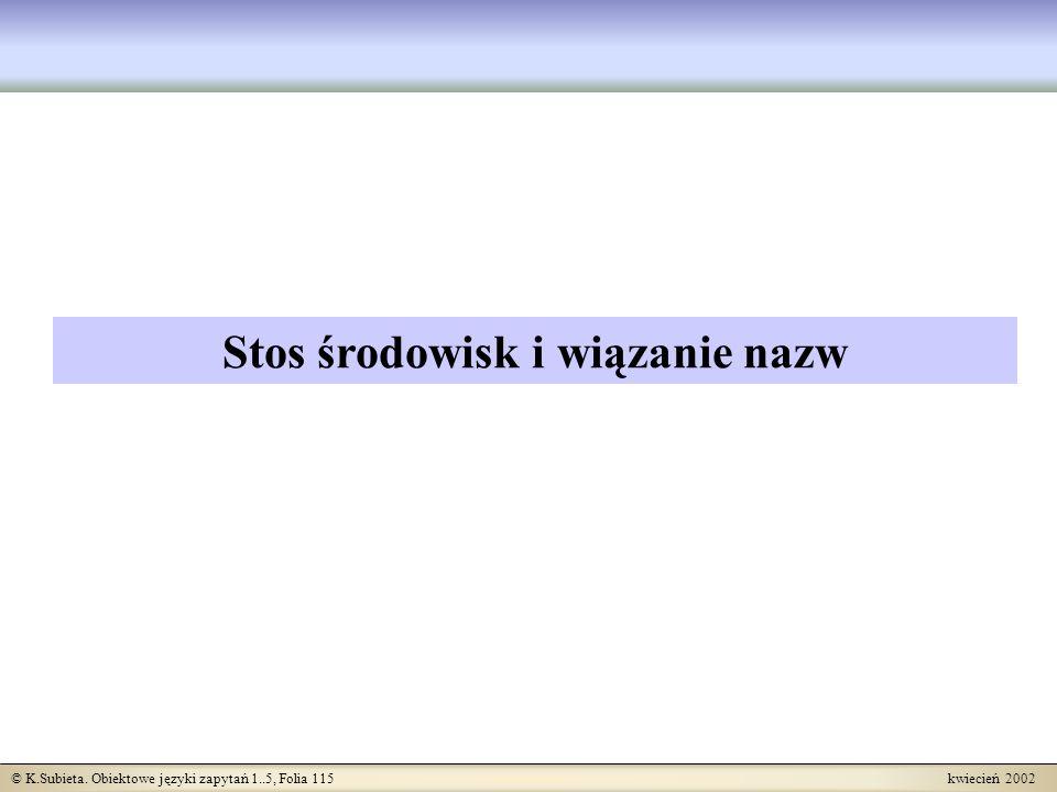 © K.Subieta. Obiektowe języki zapytań 1..5, Folia 115 kwiecień 2002 Stos środowisk i wiązanie nazw