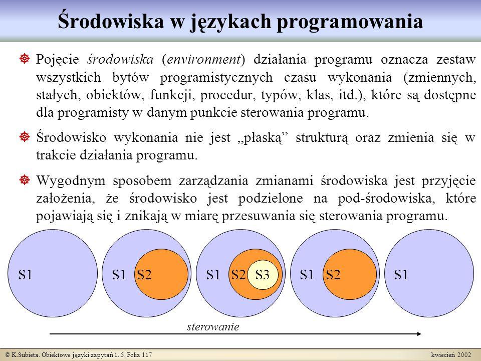 © K.Subieta. Obiektowe języki zapytań 1..5, Folia 117 kwiecień 2002 Środowiska w językach programowania Pojęcie środowiska (environment) działania pro
