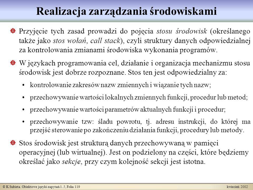 © K.Subieta. Obiektowe języki zapytań 1..5, Folia 119 kwiecień 2002 Realizacja zarządzania środowiskami Przyjęcie tych zasad prowadzi do pojęcia stosu