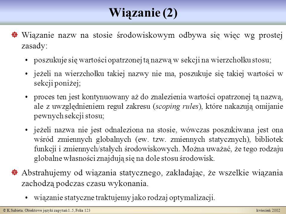© K.Subieta. Obiektowe języki zapytań 1..5, Folia 123 kwiecień 2002 Wiązanie (2) Wiązanie nazw na stosie środowiskowym odbywa się więc wg prostej zasa