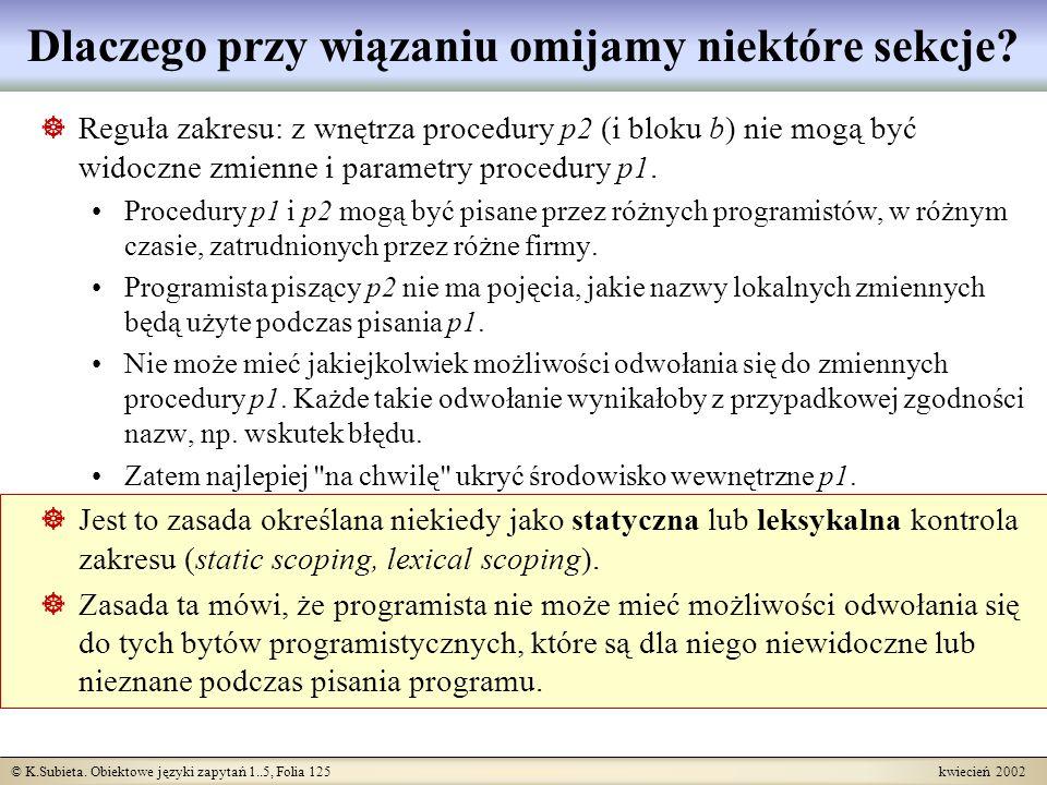 © K.Subieta. Obiektowe języki zapytań 1..5, Folia 125 kwiecień 2002 Dlaczego przy wiązaniu omijamy niektóre sekcje? Reguła zakresu: z wnętrza procedur