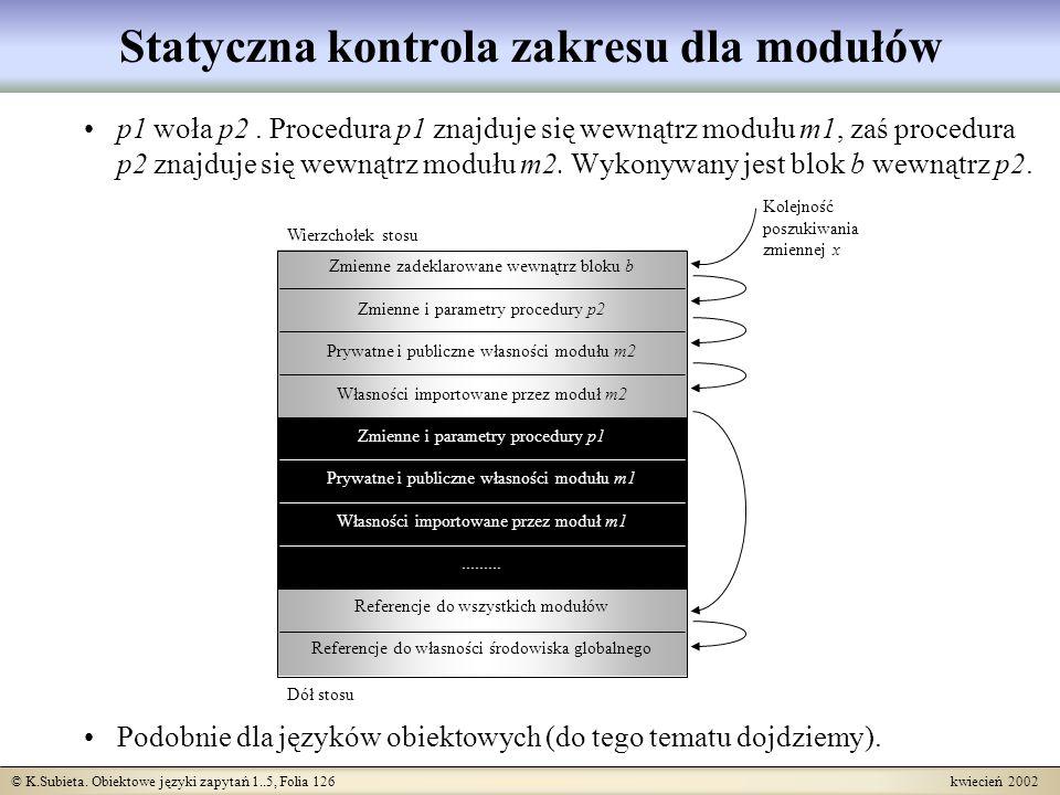 © K.Subieta. Obiektowe języki zapytań 1..5, Folia 126 kwiecień 2002 p1 woła p2. Procedura p1 znajduje się wewnątrz modułu m1, zaś procedura p2 znajduj
