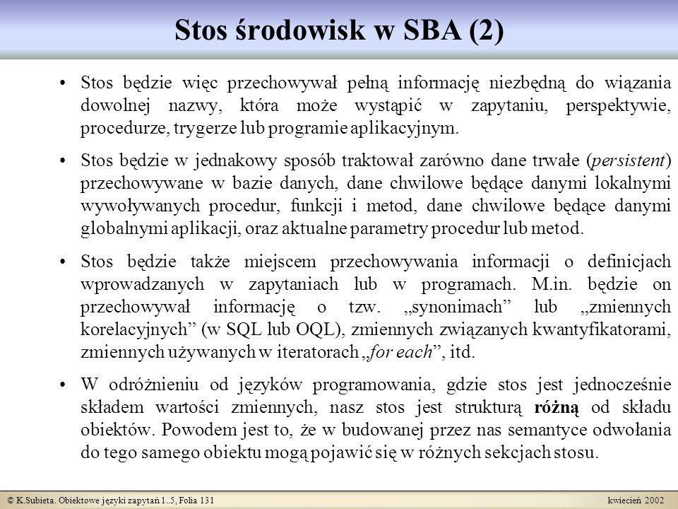 © K.Subieta. Obiektowe języki zapytań 1..5, Folia 131 kwiecień 2002 Stos środowisk w SBA (2) Stos będzie więc przechowywał pełną informację niezbędną