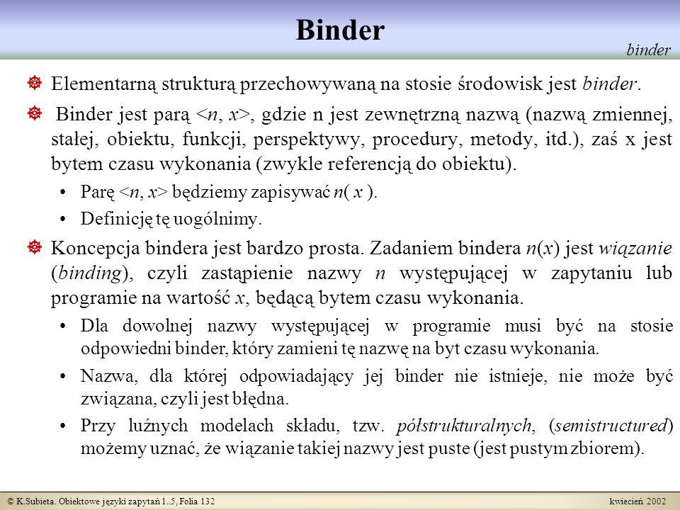 © K.Subieta. Obiektowe języki zapytań 1..5, Folia 132 kwiecień 2002 Binder Elementarną strukturą przechowywaną na stosie środowisk jest binder. Binder