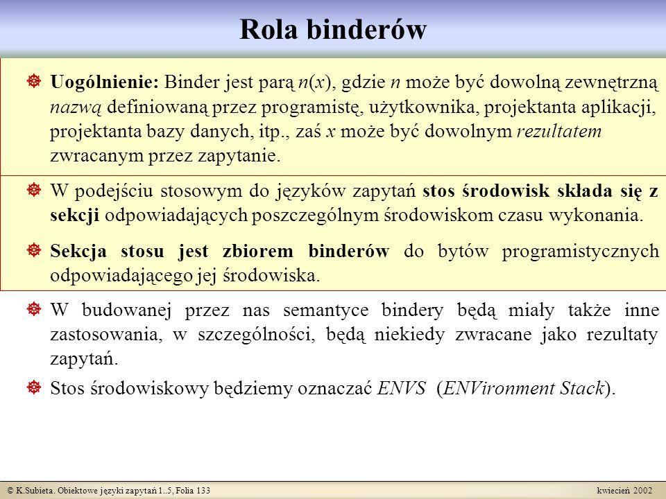 © K.Subieta. Obiektowe języki zapytań 1..5, Folia 133 kwiecień 2002 Rola binderów Uogólnienie: Binder jest parą n(x), gdzie n może być dowolną zewnętr