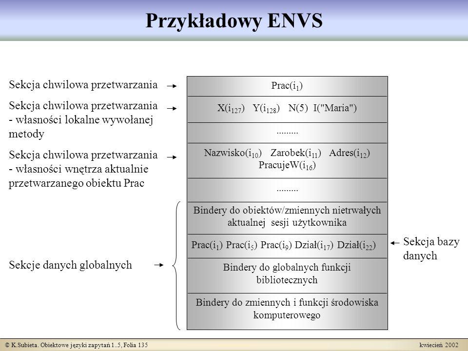 © K.Subieta. Obiektowe języki zapytań 1..5, Folia 135 kwiecień 2002 Przykładowy ENVS Sekcja chwilowa przetwarzania Sekcja chwilowa przetwarzania - wła