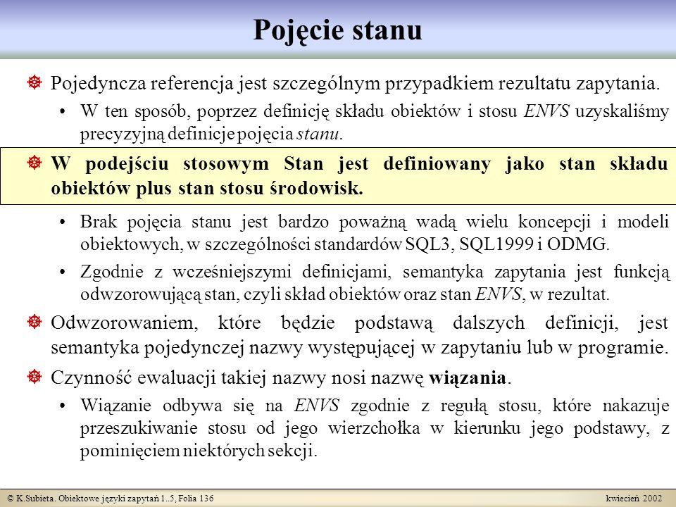 © K.Subieta. Obiektowe języki zapytań 1..5, Folia 136 kwiecień 2002 Pojęcie stanu Pojedyncza referencja jest szczególnym przypadkiem rezultatu zapytan